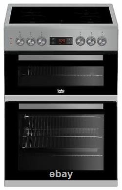 Beko KDC653S Free Standing 60cm 4 Hob Double Electric Cooker Silver