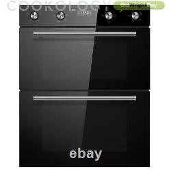 Built-under Electric Double Oven & timer Cookology CDO720BK 60cm Black