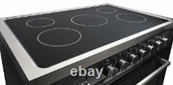 Bush BRCP90EBLK Free Standing 90cm 5 Hob Electric Range Cooker Black