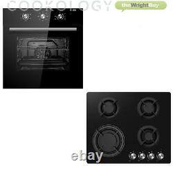Cookology 60cm Black Electric Fan Forced Oven & Cast-Iron Gas-on-Glass Hob Pack
