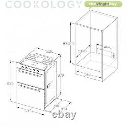 Cookology 60cm Black Glass Built-in Electric Double Oven & Induction Hob Pack