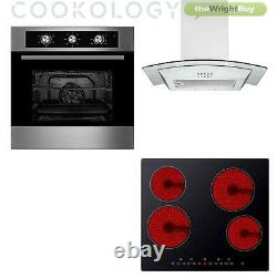 Cookology 60cm Electric Fan Oven, Touch Control Ceramic Hob & Curved Hood Pack