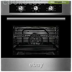 Cookology 60cm Electric Fan Oven, Touch Induction Hob & Curved Glass Hood Pack