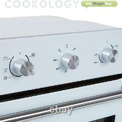 Cookology 60cm White Electric Fan Forced Oven & Built-in Gas-on-Glass Hob Pack