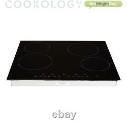 Cookology Black Built-in Double Oven, Ceramic Hob & Curved Glass Hood Pack