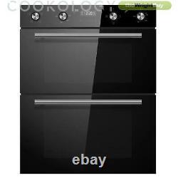 Cookology Black Built-under Double Oven, Ceramic Hob & Curved Glass Hood Pack