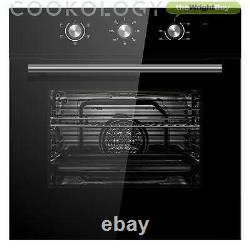 Cookology Black Electric Fan Forced Oven, Gas-on-Glass Hob & Curved Hood Pack