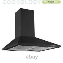 Cookology Black Electric Fan Oven, Ceramic & Cast-Iron Gas Hob & 60cm Hood Pack