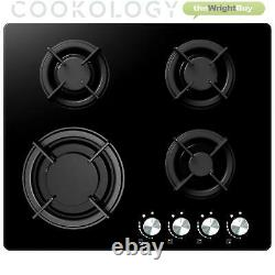 Cookology Black Single Electric Fan Oven & 60cm Gas on Glass Hob Pack