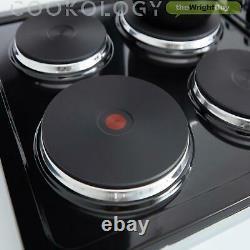 Cookology Black Single Electric Fan Oven, Solid Plate Hob & Cooker Hood Pack