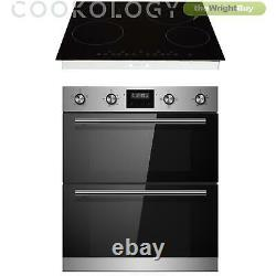 Cookology Stainless Steel Built-under Double Oven, Ceramic Hob, Cooker Hood Pack