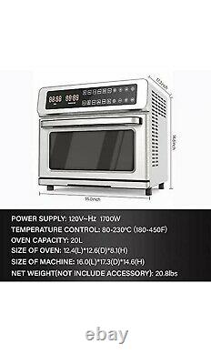 ICONITES 20L Air Fryer Toaster Oven Dehydrator Brushed Stainless Steel NIB