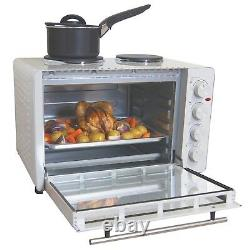 Igenix IG7145 Electric Mini Oven with Double Hotplate Hobs, 45 Litre White