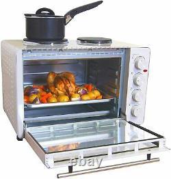 Igenix Mini Oven with Electric Double Hotplate Hob, White