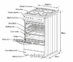 New World NWLS50SEW Free Standing 50cm 4 Hob Single Electric Cooker White