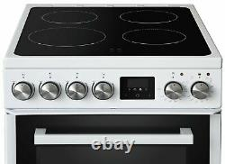 New World NWLS50TEW Free Standing 50cm 4 Hob Double Electric Cooker White