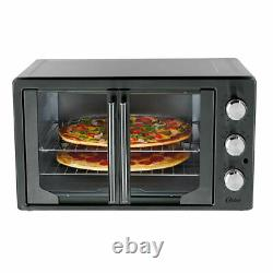 Oster 31160840 French Door Turbo Convection Toaster Oven, Metallic and Charcoal