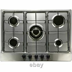 SIA 60cm Black Built Under Double Oven And 70cm 5 Burner Stainless Steel Gas Hob