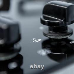 SIA 60cm Black Single Electric True Fan Oven And Black 4 Burner Gas On Glass Hob