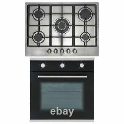 SIA 60cm Black Single True Fan Oven And 70cm Stainless Steel 5 Burner Gas Hob