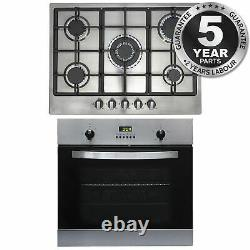 SIA 60cm Stainless Steel Electric Single True Fan Oven And 70cm Gas 5 Burner Hob