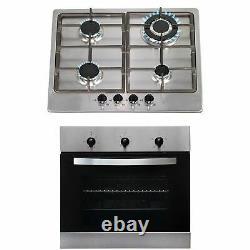 SIA 60cm Stainless Steel Single Electric Fan Oven & 4 Burner Gas Hob Wok Burner