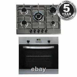 SIA 60cm Stainless Steel Single Electric True Fan Oven And 5 Burner 70cm Gas Hob