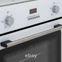SIA 60cm White Single Electric True Fan Kitchen Oven & 4 Burner Gas On Glass Hob