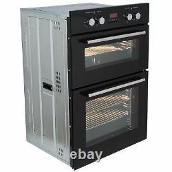 SIA AMZDO102 60cm Black Built In Double Electric True Fan Oven Digital Timer