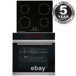 SIA BISO11SS 60cm Black Single Electric True Fan Oven & 4 Zone Induction Hob