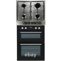 SIA Built In Double Electric Fan Oven & Stainless Steel 60cm 4 Burner Gas Hob