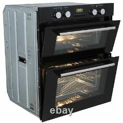 SIA Built Under Double Electric Fan Oven & 70cm 5 Burner Stainless Steel Gas Hob