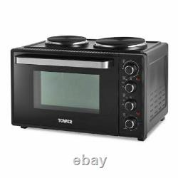 Tower 32L Table Top Compact Electric Mini Oven in Black With 2 Hotplates T14044