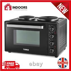 Tower T14044 32L Mini Oven with Hot Plates Black with Silver Accents Brand New