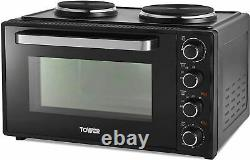 Tower T14045 42L Mini Oven with Hot Plates, 90 Min Timer, Black- brand new